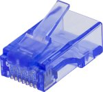 Deltaco RJ45 connector, Cat6, UTP, 20-pack, transparent, blue MD-116 (Kan sendes i brev)
