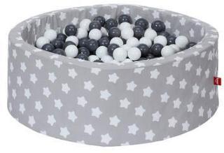 knorr® leker ballbad mykt - Gråhvite stjerner inkludert 300 baller grå / krem