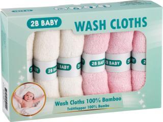 2B Baby Vaskekluter Bambus 6-pack, Rosa
