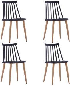 Spisestoler 4 stk svart plast stål -