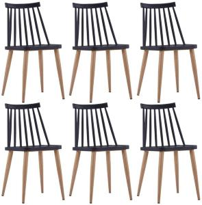 Spisestoler 6 stk svart plast stål -