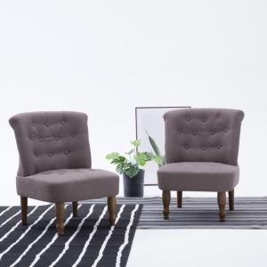 vidaXL Fransk stol gråbrun stoff
