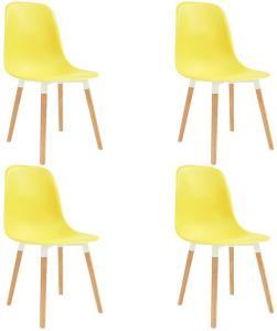 Spisestoler 4 stk gul plast - Gul