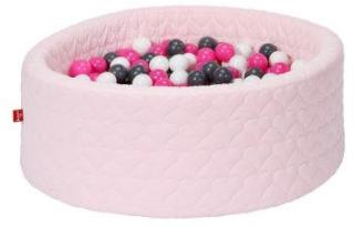 knorr® leker ballbad mykt - Koselig hjerterose inkludert 300 baller krem ??/ grå / rose