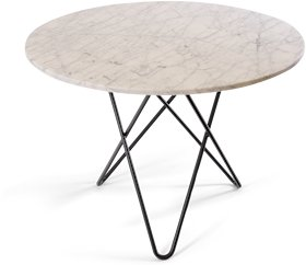 OX DENMARQ Large O Table Matt Hvit Marmor med Svart Ramme Ø100