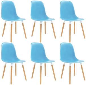 Spisestoler 6 stk blå plast - Blå
