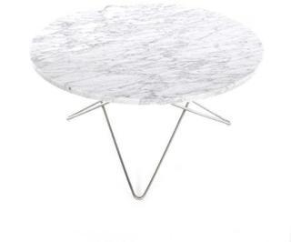OX DENMARQ O Table Matt Hvit Marmor med Rustfri Stålramme Ø80