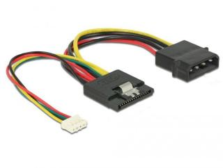 DELOCK Cable Power SATA 15 pin receptacle > Molex 4 pin male + 4 pin power female (85673)