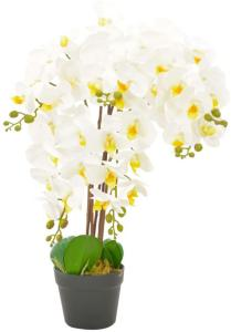 vidaXL Kunstig orkidè med potte hvit 60 cm