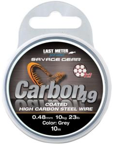 Savage Gear Carbon 49 Wire 0,70mm. 10m, Coated grå stålwire