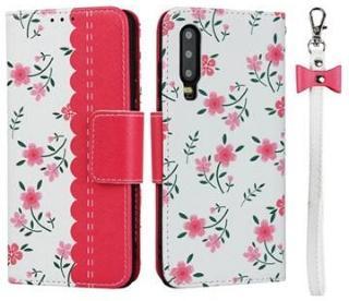 Floral Pattern Huawei P30 Lommebok-deksel - Varm Rosa