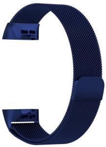 eStore Milanese Loop-Armbånd kompatibelt med Fitbit Charge 3 Blå, L