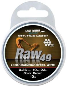 Savage Gear Raw 49 Wire 0,36mm 10m, Uncoated Brun stålwire
