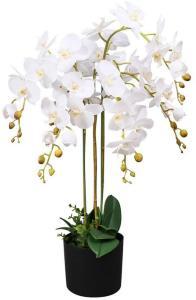 Kunstig orkidè med potte 75 cm hvit -