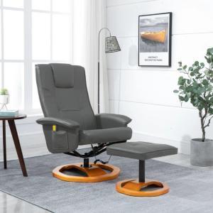 vidaXL Massasjestol med fotskammel grå kunstig skinn