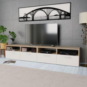vidaXL TV-benk 2 stk sponplater 95x35x36 cm eik og hvit