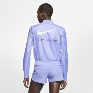 Nike løpejakke med hel glidelås til dame - Purple S