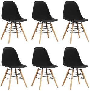 Be Basic Spisestoler 6 stk svart plast - Svart