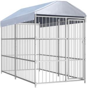 Utendørs hundegård med tak 300x150 cm -