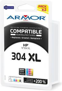 Armor Blekkpatron Pakke HP No.304XL (Sort 21,5ml/Farge 16,5ml) B10415R1 (Kan sendes i brev)