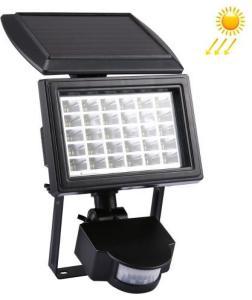 Lyskaster LED med solcellepanel og bevegelsessensor