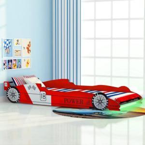 vidaXL Barnas racerbilseng med LED 90x200 cm rød