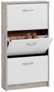 FMD Skoskap med 3 vippeskuffer hvit og betonggrå