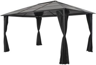 vidaXL Paviljong med gardin aluminium 4x3x2,6 m svart