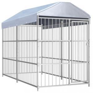Utendørs hundegård med tak 300x150 cm