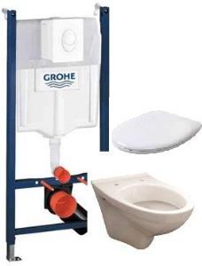 VVS FORHANDLEREN Komplett vegghengt toalett pakke med sete og trykkplate.